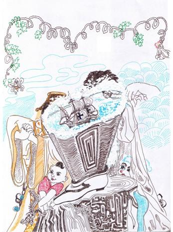 魔靴 纸本故事插画 39.5X47.5cm