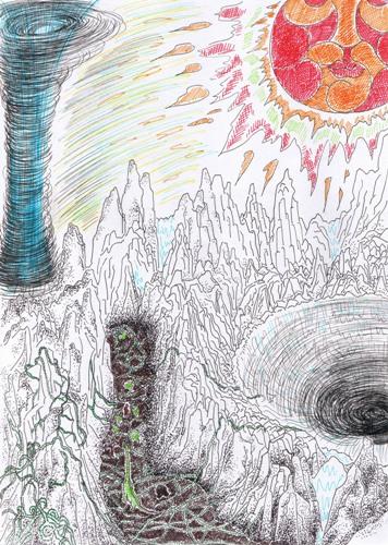险饿之旅2 纸本故事插画 39.5X47.5cm