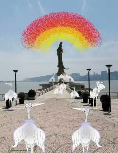 """""""与阳光一路同行,遇见炫丽彩虹!"""" / 白鹭远游团队留言 ;影像设计来源:蓝海艺术有限公司"""